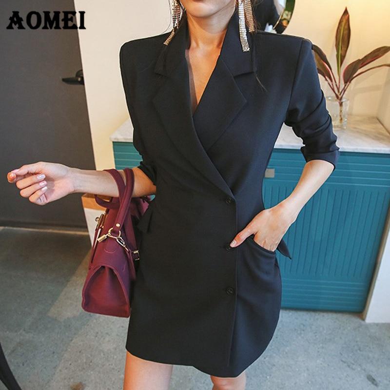 Female Blazer Mini Dress Work Wear Classy Women Jackets Slim Sexy Tight Slim Korean Style Vestido Femme Autumn Dresses Clothing Одежда