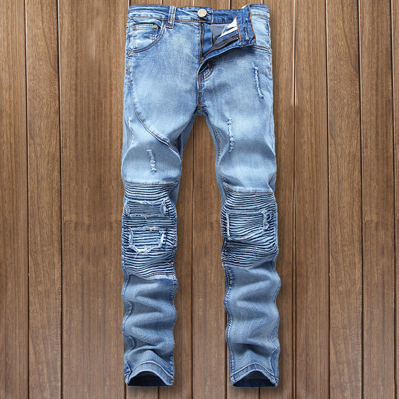 2017 Folded Cave Jeans Light Blue European and American Male Locomotive Stretch Straight Slim Pants JEANS