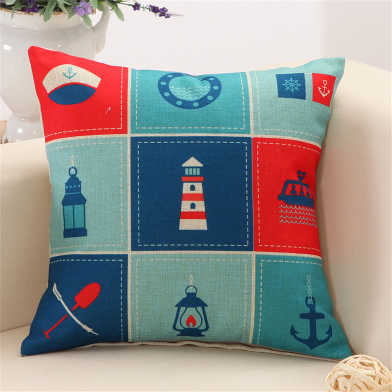 Navy Decorative Cushion Navy Hat Boat Paddle Lighthouse Pattern Boy Bed Cushion Comfortable knitted polyester linen