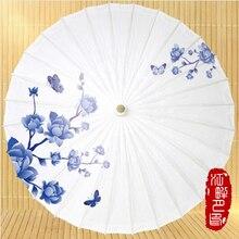 JPY Flower Child Paper Umbrella Dance Kid Paper Parasols Light Bluse Color Japanese paper parasols Middle East Home Decoration