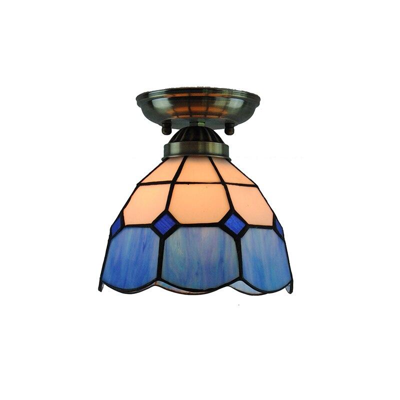7 Tiffany Vintage Deckenleuchte Moderne Retro Blue White Glasmalerei Unterputz Lampe Balkon Flur Leuchte CL252
