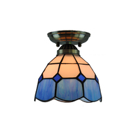 7 Tiffany Vintage Ceiling Light Modern Retro Blue White Stained Glass Flush Mount Lamp Balcony Hallway