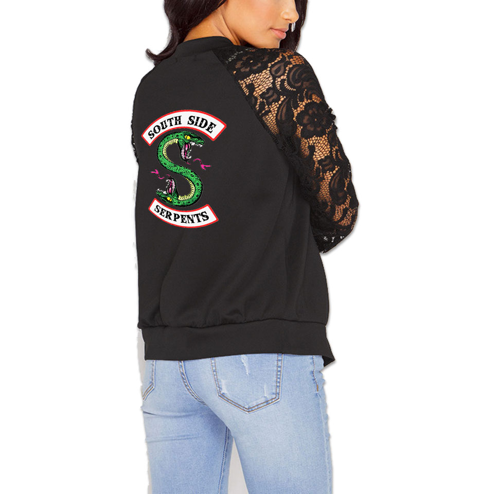 LUCKYFRIDAYF Riverdale Zipper lace Jackets Women Long Sleeve Casual Streetwear Lady Fashion Southside Riverdale Serpents