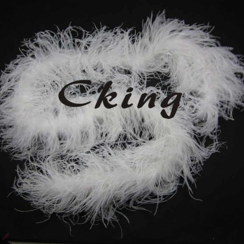 EMS Free Shipping 10pcs snow white colour ostrich feather boas 4ply thickness ostrich feather fringes 2 meter long each pc