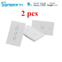 2pcsSonoff T1 Smart Wifi Wall Touch Light Switch 1 3 Gang Touch WiFi 433 RF APP