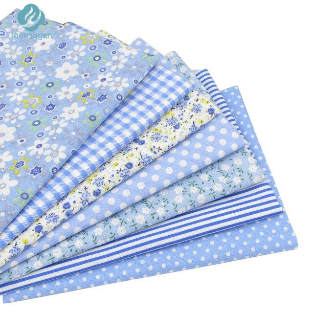 7 cái Màu Xanh 100% Cotton Vải cho May Mặc DIY Quilting Mô Chắp Vá Trẻ Em Bộ Đồ Giường Dệt Tilda Búp Bê Vải Vải 50*50 cm