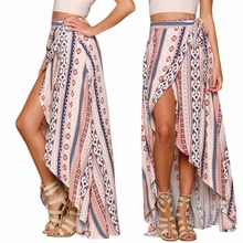 2017 Hot Stylish Women Summer Bohemian Style Chiffon Bandage Beach Long Skirts