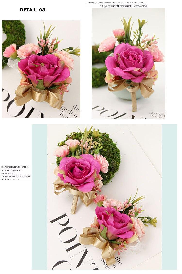 bridesmaid bracelet wedding corsage flowers roses artificial  (9)