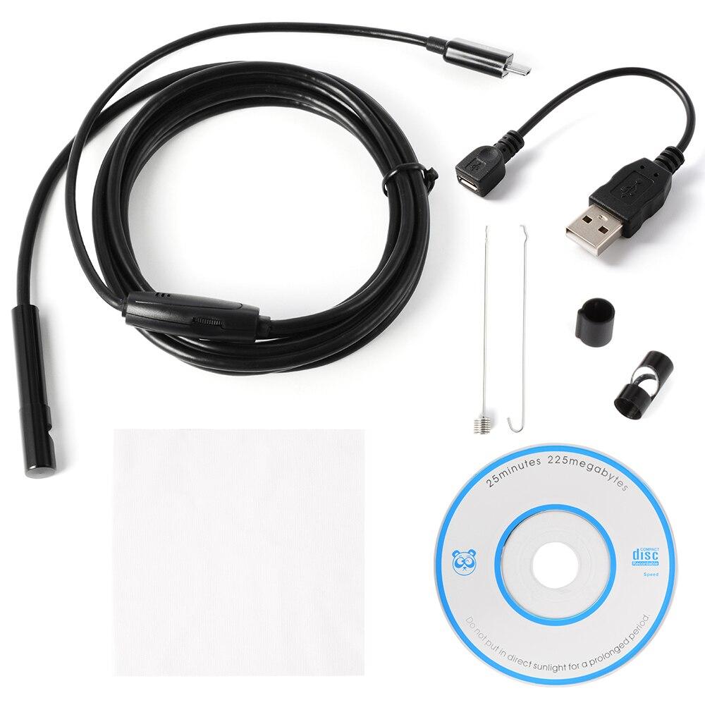 2 М/5 М 7 мм USB Эндоскоп Водонепроницаемый 6 LED Эндоскопа Бороскоп Змея Инспекции Труб Камеры Видео Android Телефон BI205-206
