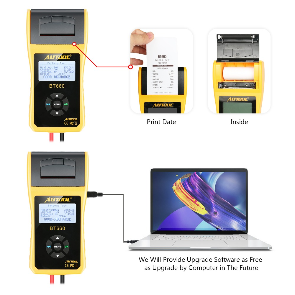 AUTOOL BT660 Car Battery Tester with Printer BT660 Battery Analyzer for Flooded CCA AGM GEL EFB Detect Bad Battery Cell