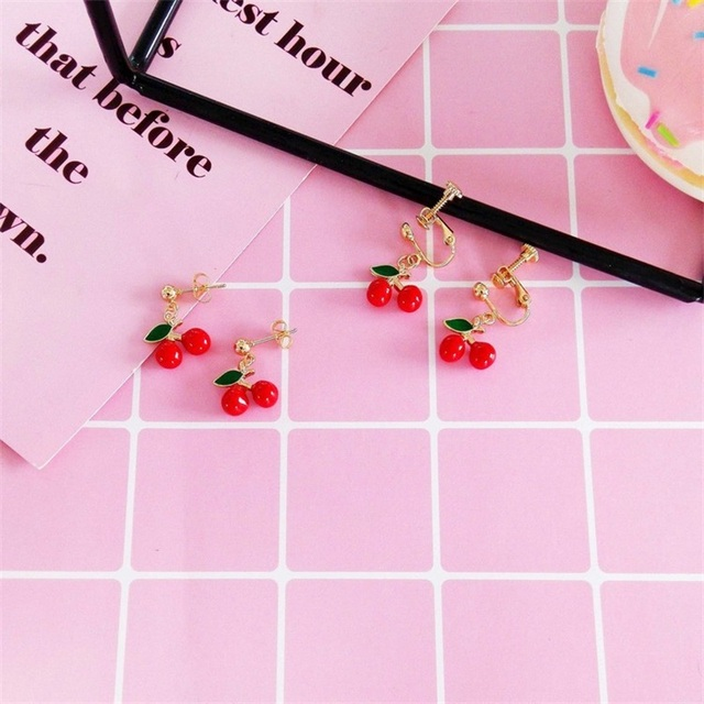 Japanese and Korean version of the sweet cute little cherry earrings enamel fashion long short earrings.jpg 640x640 - Japanese and Korean version of the sweet cute little cherry earrings enamel fashion long / short earrings earless ear clip