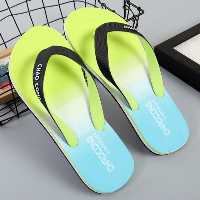 559a32b79a06b Men Flip Flops EVA Gradient Color Prints Shower Sandal Casual Slippers  Summer Beach
