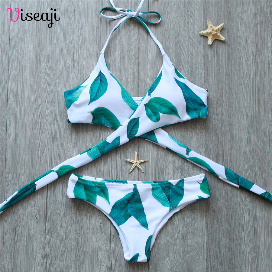 Bikini 2017 Cross Print Female Swimwear Women Swimsuit Sexy Brazilian Bikini Set Halter Bathing Suits Bandage Beach Wear Biquini bikinis 2017 sexy swimsuit female bandage swimwear women brazilian bikini set halter retro beach bathing suits swim wear biquini