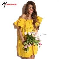 2016 Ruffles Slash Neck Women Dress Summer Style Off Shoulder Sexy Dresses Loose Beach Dress WD0126
