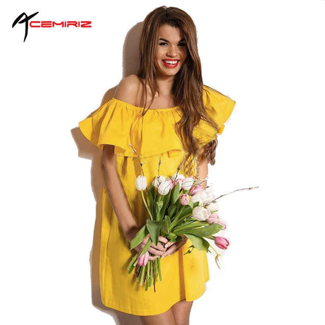 Ruffles Slash Neck Women Dress Summer Style Off Shoulder Vestidos Sexy Solid Dresses Loose Beach Dress Cotton AWD0086