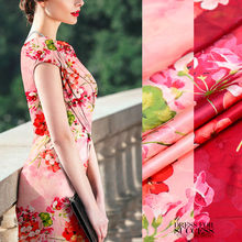Fashion hydrangea hot sale digital painting mulberry silk natural stretch satin fabric for dress tissu au meter bright cloth DIY(China)