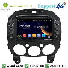 Quad Core 8″ 1024*600 2Din Android 5.1.1 Car DVD Player Radio Stereo Screen BT FM DAB+ 3G/4G WIFI GPS Map For Mazda 2 2010-2012