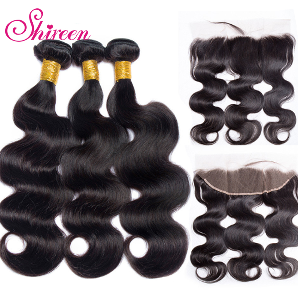 Malaysian Hair Body Wave 3 Bundles With Frontal Human Hair Bundles With Frontal 13*4 Lace Frontal With Bundles Remy Hair 8-28