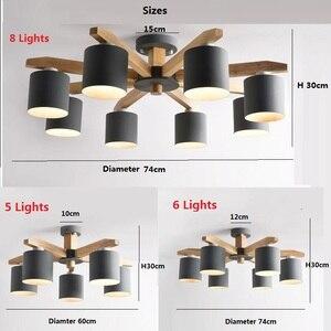 Image 4 - 現代のシャンデリアの照明北欧E27 鉄リビングルームのためのランプシェードsuspendsion照明器具lamparas木製光沢