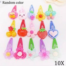 10Pcs/Lot Cartoon Kids Hair Pins Baby Infant Flower Clips Girls Lovely Hairpins Hair Accessories Random Color M893