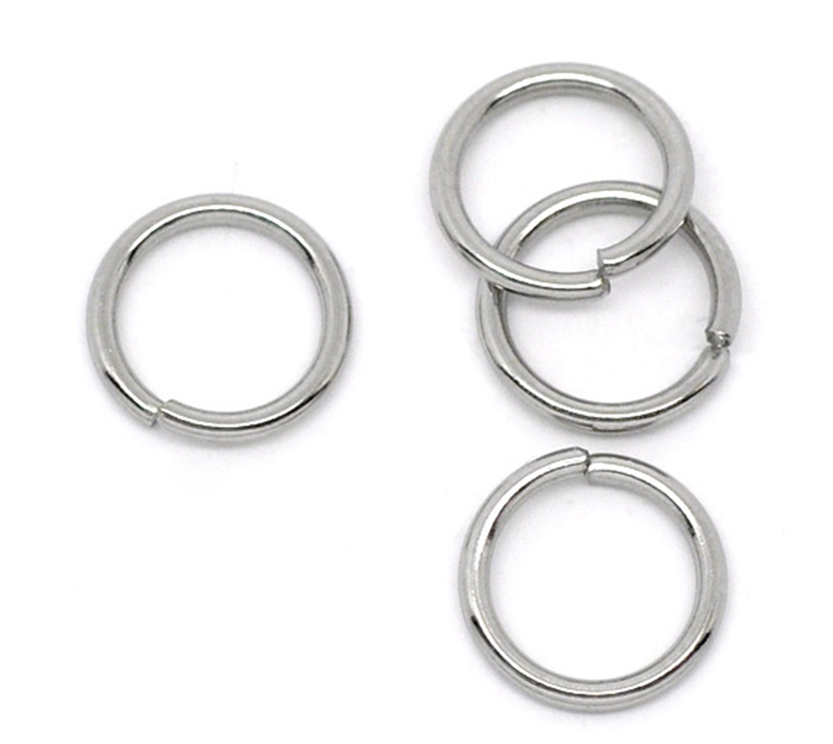 Wholesale Lots Stainless Steel Open Jump Rings 8mm Dia Findings