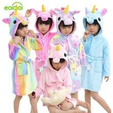 купить EOICIOI Kids Boys Girls Bathrobes Flannel Hooded Cartoon Pegasus Children Towel Robes Autumn Winter Baby Clothes Sleepwear дешево
