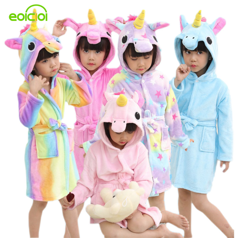 EOICIOI Kids Boys Girls Bathrobes Flannel Hooded Cartoon Pegasus Children Towel Robes Autumn Winter Baby Clothes Sleepwear