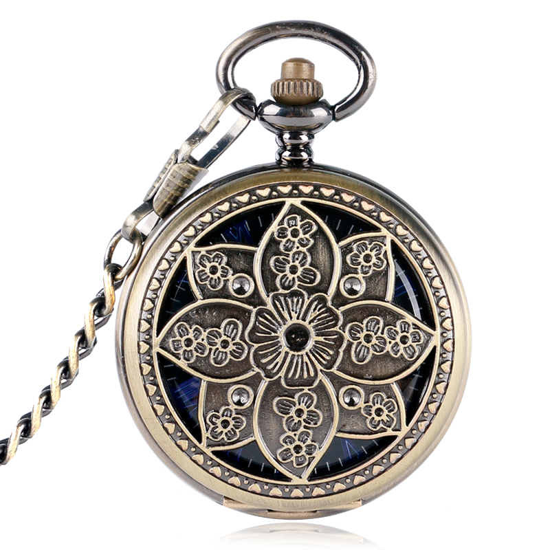 Vinatge Bronze Hollow Flower Case Blue Roman Number Skeleton Dial Hand-wind Mechanical Fob Pocket Watches With Chain