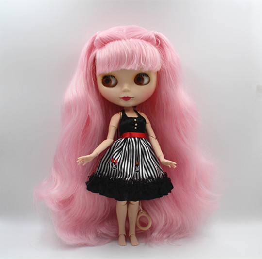 Blygirl Blyth doll Pink bangs can be closed eyes frosted face shell nude doll 30cm joint body DIY doll toy gift цена