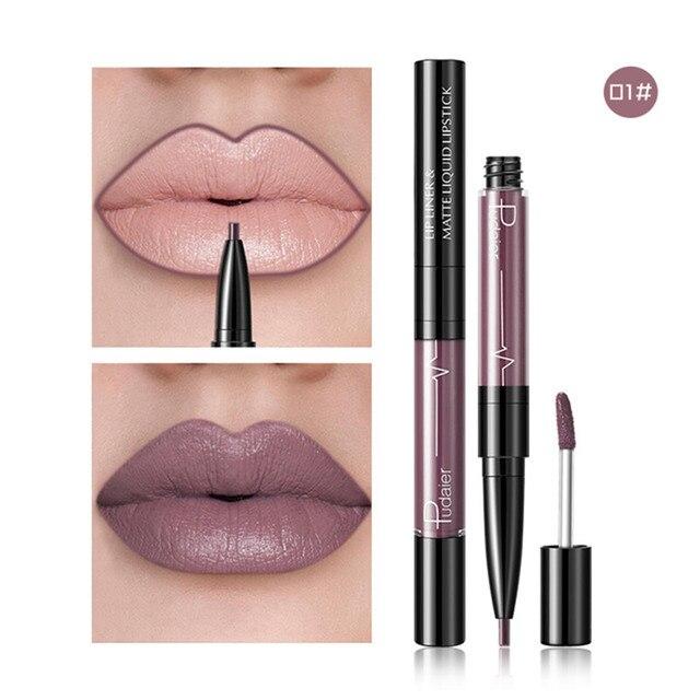 Pudaier 2 In1 mate brillo de labios trazador de líneas del labio, Maquiagem profesional Completa ágata rojo tinte de labios más regordete tatuaje maquillaje lápiz labial líquido