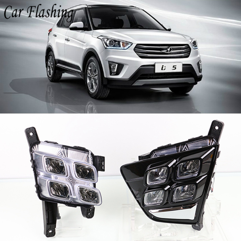 2PCS Car Accessories Waterproof ABS 12V LED Daytime Running Light DRL Fog Lamp Decoration For Hyundai