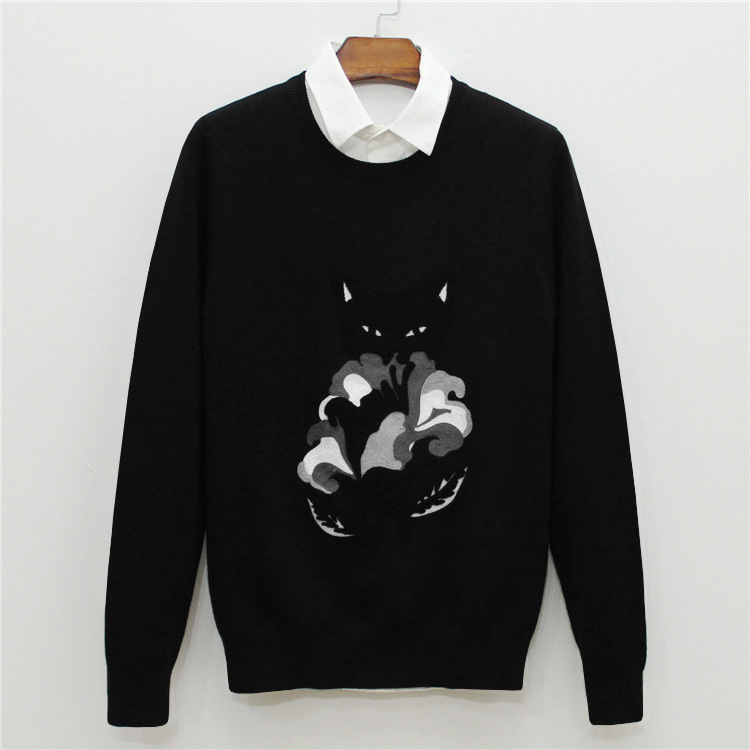 New 2019 Man Luxury Embroidered Foxes Knit Casual Sweaters Pullovers Asian Plug Size High Quality Drake #J63
