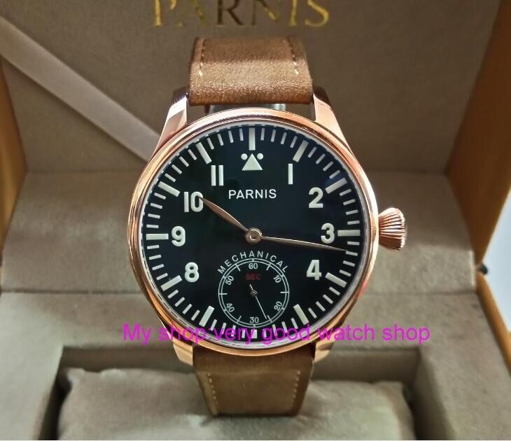 Blue luminous 44mm parnis Black dial 6498 ST3621 Mechanical Hand Wind movement men s font b
