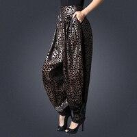 2018 zomer runway leisure harembroek glare hoge taille losse luipaard breed been broek dame kleding luipaard retro broek size-3XL