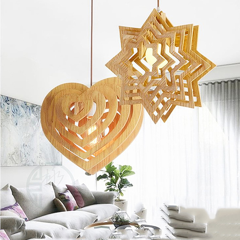 Art Deco fancy star heart shape wood pendant lamp home lighting suspension pendant lights for living room dining room restaurant deco home вешалка