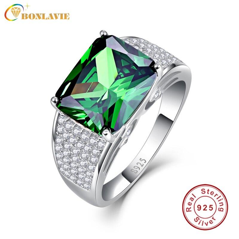 2076f155101a Nano ruso Esmeralda lujo marca joyería Anillos 925 anillo de bodas de plata  esterlina 9.5ct Esmeralda anillo de la alta calidad para las mujeres
