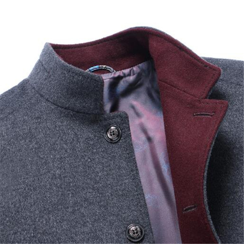 Tang cool 2018 New Mens Overcoat Wool Long Length Stand Collar Wool Coat Men Slim Fit Fashion CasualJacket