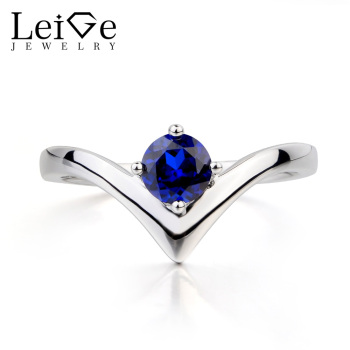 Leige Jewelry Blue Sapphire Ring Engagement Ring September Birthstone Round Cut Blue Gems Solid 925 Sterling Silver Ring for Her