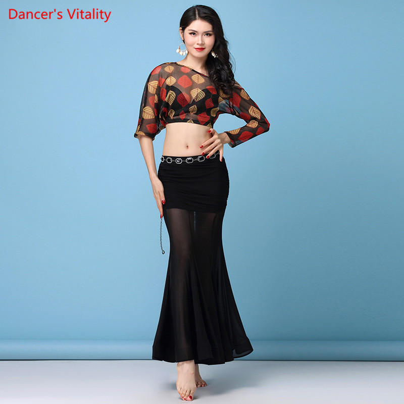 Belly Dance Competition Set 2018 Autumn And Winter New Mesh Semi-Transparent Sexy Long Skirt Women Performance Clothing Suit