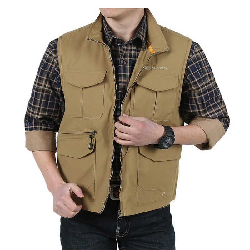 f8252daf9fbf9 Autumn Men Casual Vests Cotton chaleco Outwear Mens Waistcoat Military Army  Green Khaki Plus Size M -XXXL