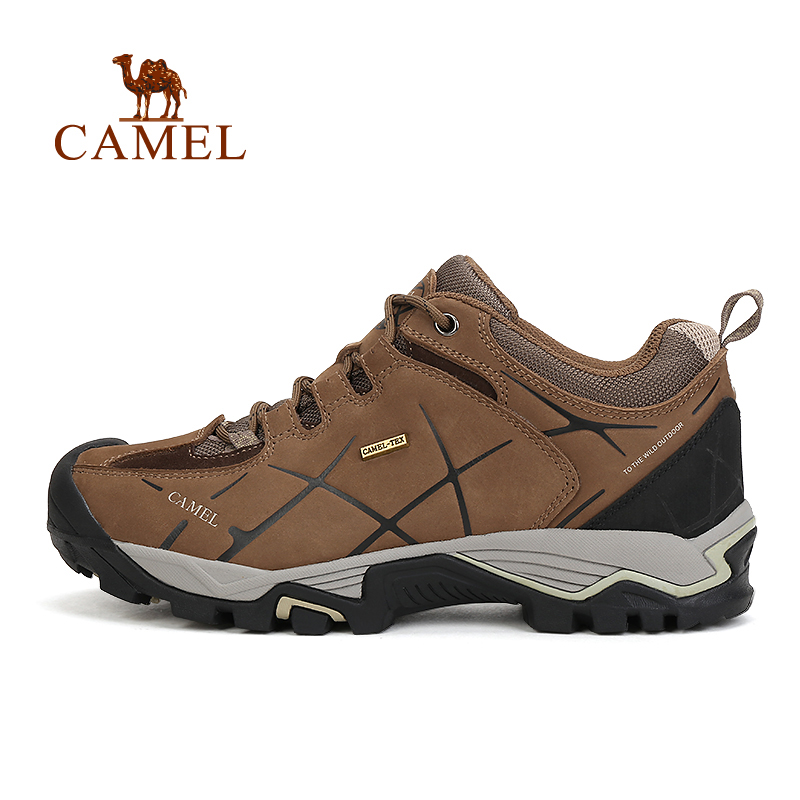 CAMEL Men Leather Lace-Up Hiking Shoes Breathable Anti-skid Comfortable Outdoor Sports Brand Camping Climbing Trekking Sneakers