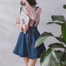 2019 Korean Summer Vintage Sweet Preppy Style Skirt Women Jeans Blue Suspender Skirt Blue Casual Denim Straps Overall Mini Skirt 2019 korean summer vintage sweet preppy style skirt women jeans blue suspender skirt blue casual denim straps overall mini skirt