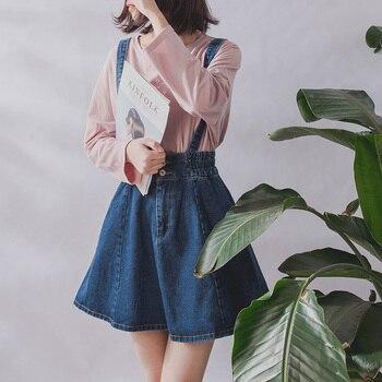 2019 Korean Summer Vintage Sweet Preppy Style Skirt Women Jeans Blue Suspender Skirt Blue Casual Denim Straps Overall Mini Skirt sweet style solid color button embellished women s suspender skirt