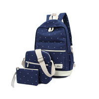 Canvas Women Backpack Bags For Teenagers Girls Preppy Style Composite Bags Set Travel Bags Notebook School
