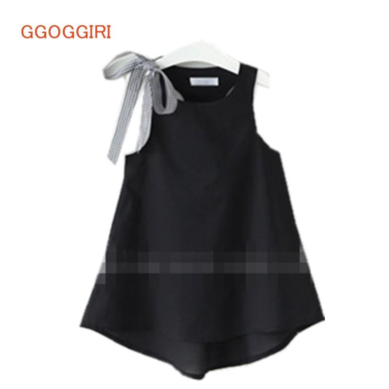 GGOGGIRI zbrusu nové dětské oblečení letní dívky pevné elegantní kvalitní bavlněné ramena luk šaty bez rukávů módní šaty