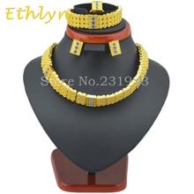 Ethlyn mujeres Etíopes set joyería gargantillas collar anillo pendiente de la pulsera fija 24 k Oro verdadero Plateado Eritrea Habesha Africa Mujeres