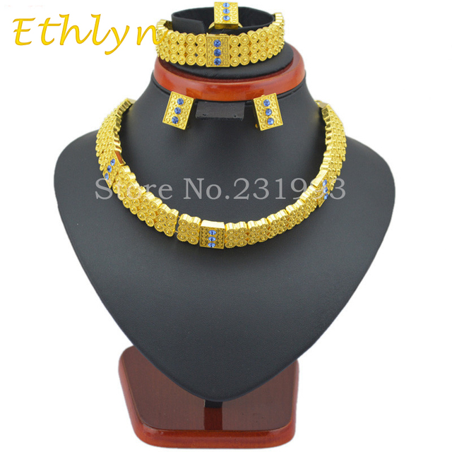 Ethlyn women Ethiopian set jewelry chokers necklace bracelet earring ring sets 24k real Gold Plated Eritrea Habesha Africa Women