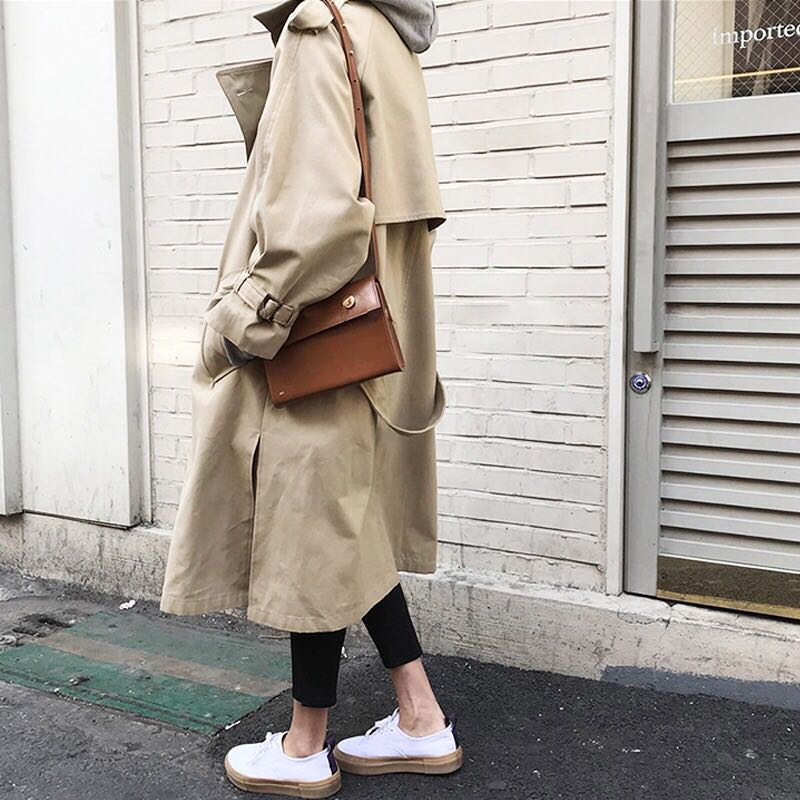 Spring Autumn New Women's Casual Trench Coat Oversize Double Breasted Vintage Outwear Sashes Chic Cloak Female Windbreaker 10