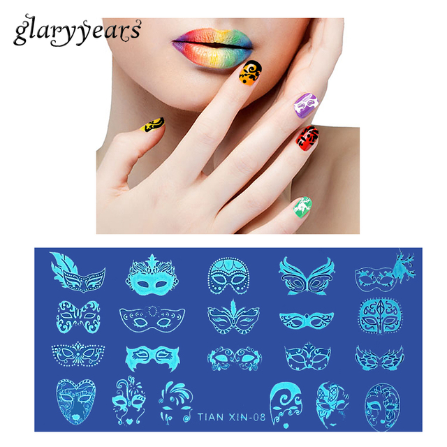 1 Piece Template Nail Art Stamping Plate Party Mask Image Pattern ...