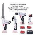 NEWONE 12 V power tool set Hoek grinder Elektrische boor Elektrische Zaag en Led licht met drie lithium batterij en een oplader